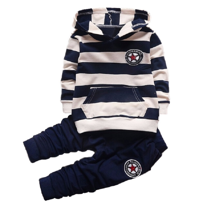 2017 new girl boys Clothing Sets Long sleeve Striped hoodies baby kids suits 2 pcs fashion girls clothing sets children clothes