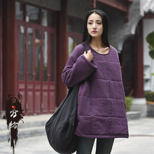 Bai Xiu Fang 2016 cotton padded winter New Retro all-match thickening cotton blouse sleeve clip long head