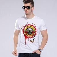 Summer Men Brand Trend Clothing Guns n Roses Printed White O Neck Short Sleeve Cool Punk Rock Band T Shirt  L9-K21