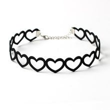 2018 Sexy velvet Hollow Out Heart Summer Beach style Black Short Chokers Necklaces for women collar Wholesale Free shipping(China)