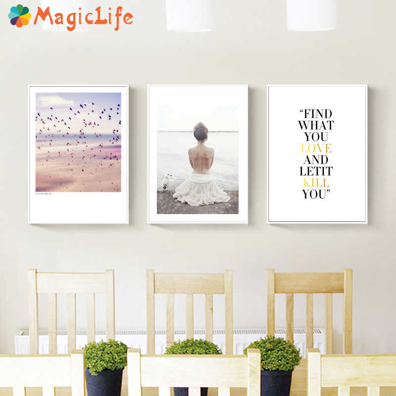 Girl Wall Art Watercolor Canvas Painting Sea Nordic Posters Text Wall Pictures For Living Room Decoracion Unframed
