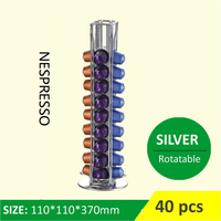 Rotatable 40 Cups Nespresso Capsule Storage Rack Rotary Coffee Pod Holder Tower Stand Iron Coffee Pods
