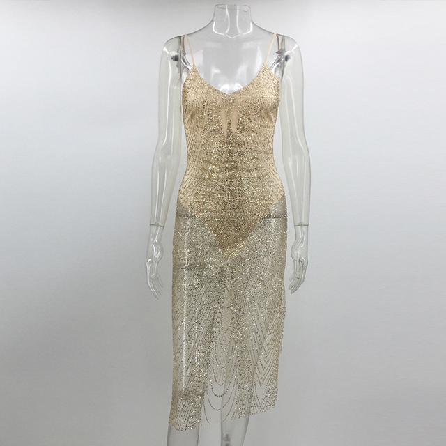 Sleeveless See Through Jewelled Glitter Sequin Dress