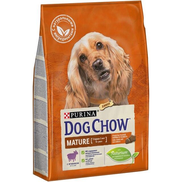 Сухой корм Dog Chow для взрослых собак старшего возраста, с ягненком, Пакет, 2,5 кг