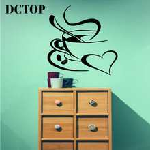 DCTOP A Cup Of Coffee Vinyl Art Wall Stickers Home Decor Creative Cafe Shop Stickers Wall Decoration(China)