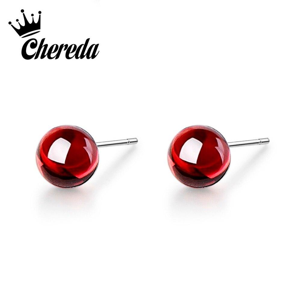 Chereda Cute Round Earrings Trendy Jewelry Red Rhinestones Stud Earring for Women Party Gifts oorbellen in Stud Earrings from Jewelry Accessories