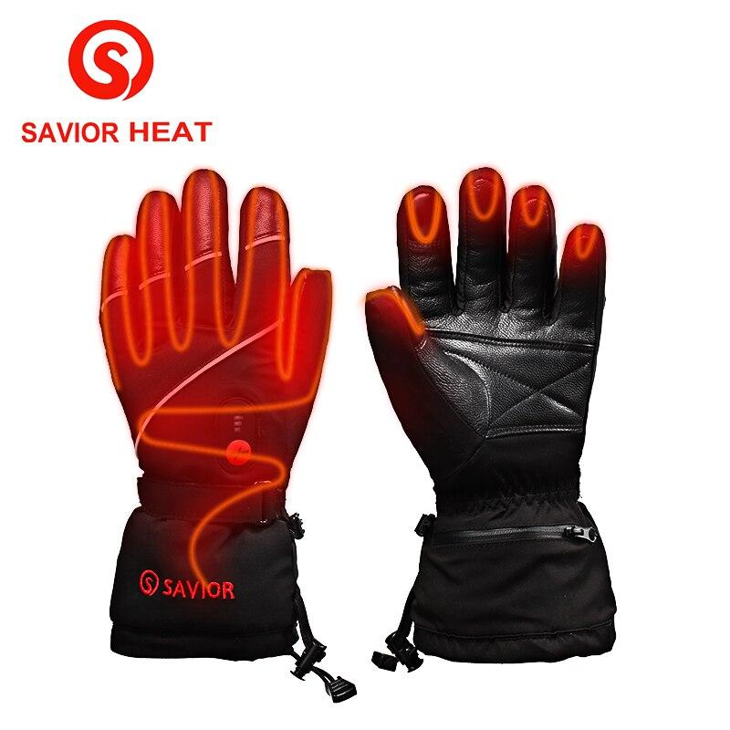 Gants électriques en cuir de chaleur de S-15 de sauveur, auto-chauffage de batterie au Lithium de Sport de Ski en plein air, gants chauffants intelligents de contact