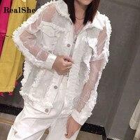 Realshe Women Denim Jacket Lapel Long Sleeve Buttons Pockets Tassel Denim Jemale Jacket Spring Autumn Casual Jeans Jacket Women