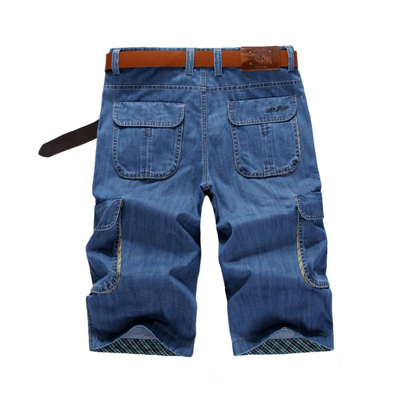 Summer Men Cargo Shorts Homme Male Fashion Straight Loose Casual Shorts Washed Denim Short Men Jeans Multi-pocket Pants MZ1561  mens casual blue jeans denim multi pocket loose outdoor straight legs cargo pants