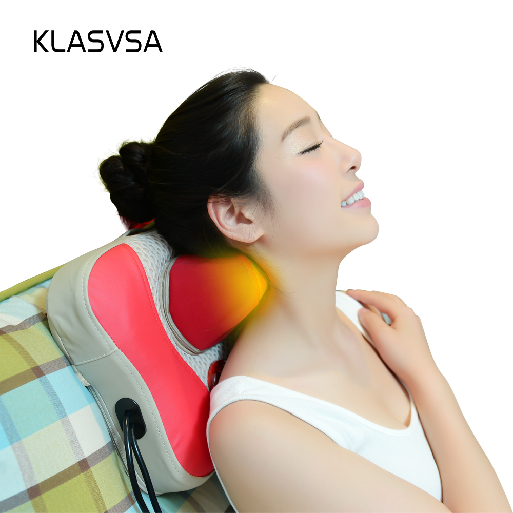 KLASVSA Electric Shiatsu Heating Neck Massage Pillow Kneading Magnet Therapy Head Neck Cervical Back Leg Rolloer Relax Massager pop relax electric vibrator jade massager light heating therapy natural jade stone body relax handheld massage device massager