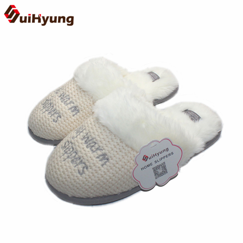 Suihyung Women Winter Warm Home Slippers Indoor Shoes Plush Fleece Thermal Bedroom Floor Slipper Female Non slip House Slippers plush home slippers women winter indoor shoes couple slippers men waterproof home interior non slip warmth month pu leather