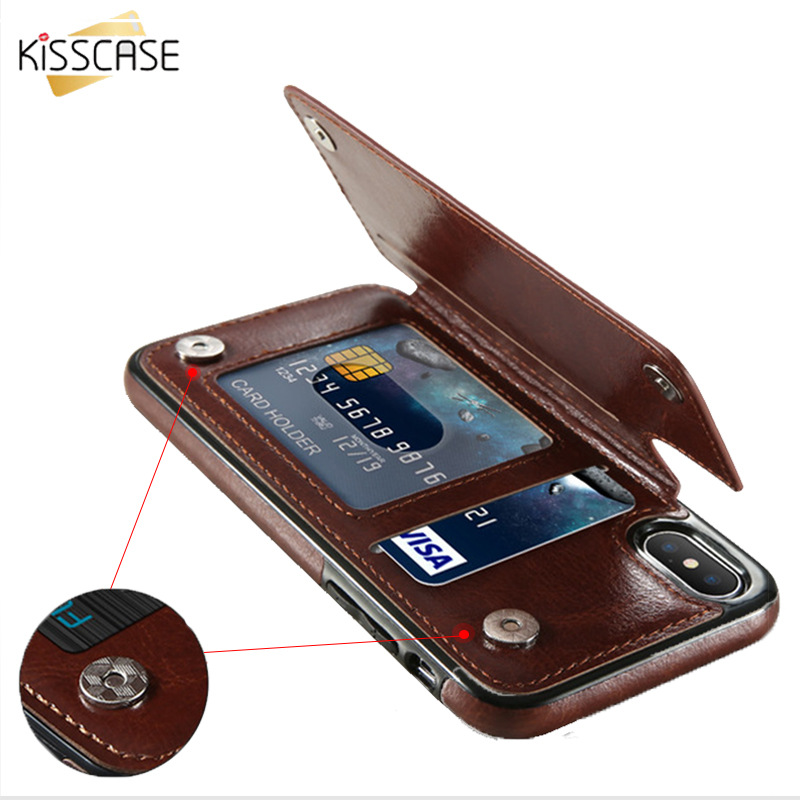 KISSCASE Retro PU Leather Case For iPhone 7 8 XR XS Max Card Holders Cover For iPhone X 6 6S Plus 5 5S SE Leather Wallet Fundas visa