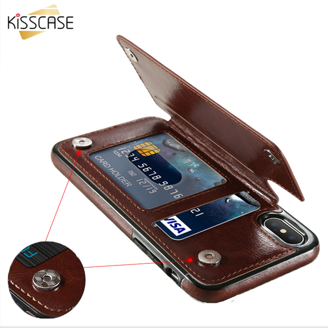 info for 1f6ec 1fa66 US $4.49 45% OFF|KISSCASE Retro PU Leather Case For iPhone 7 8 XR XS Max  Card Holders Cover For iPhone X 6 6S Plus 5 5S SE Leather Wallet Fundas -in  ...