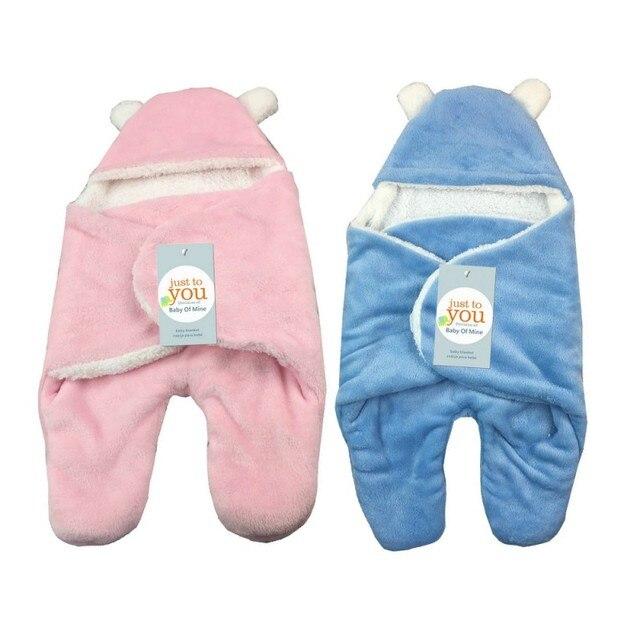 69a8ee1b09 Winter Baby Blanket Envelope Swaddle Wrap Coral Fleece Newborn Blanket  Sleeper Infant Stroller Wrap Toddlers Baby
