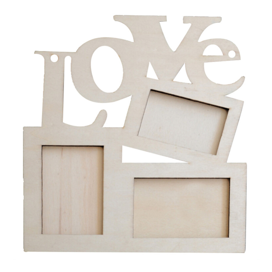 Mini love wooden family frame photo wood picture frame for Picture frame hanging designs