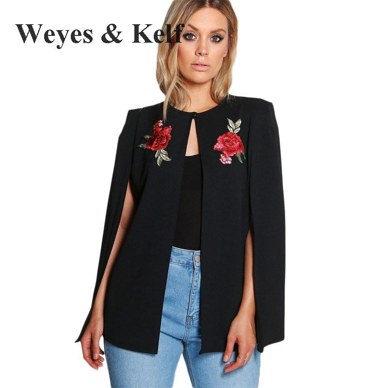 Plus Size Fashion Flowers Embroidered Coat cloak Bomber Jacket Weyes Kelf Sexy O neck Jeans Jacket