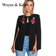 Plus Size Fashion Flowers Embroidered Coat cloak Bomber Jacket Weyes & Kelf Sexy O-neck Jeans Jacket Women