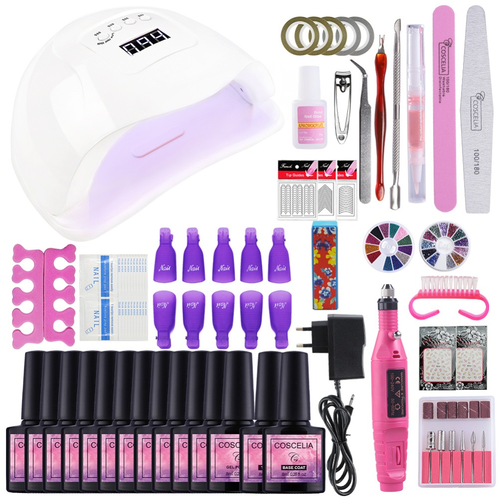 Set For Manicure Nail Kit Set Gel Varnish Set 6/10/12 Color UV Gel Polish 36/80W LED Lamp Gel Varnish Nail Polish Set UV Machine
