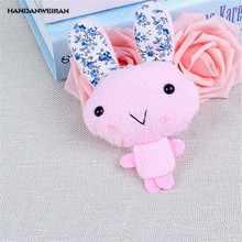 HANDANWEIRAN 1Pcs PP Cotton 13CM New Kawaii 5 Colors Flower Ear Rabbit Stuffed Toys Cartoon Pendant Kids Gifts Dolls Plush Toy