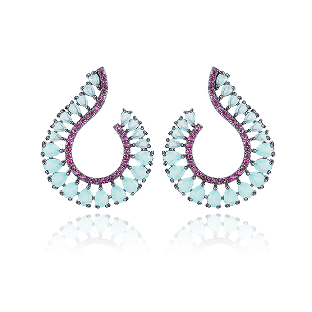 XIUMEIYIZU 4 Colors Fashion High Grade CZ Garland Olive Branch Blue Cubic Zirconia Stud Earrings Brincos Gift