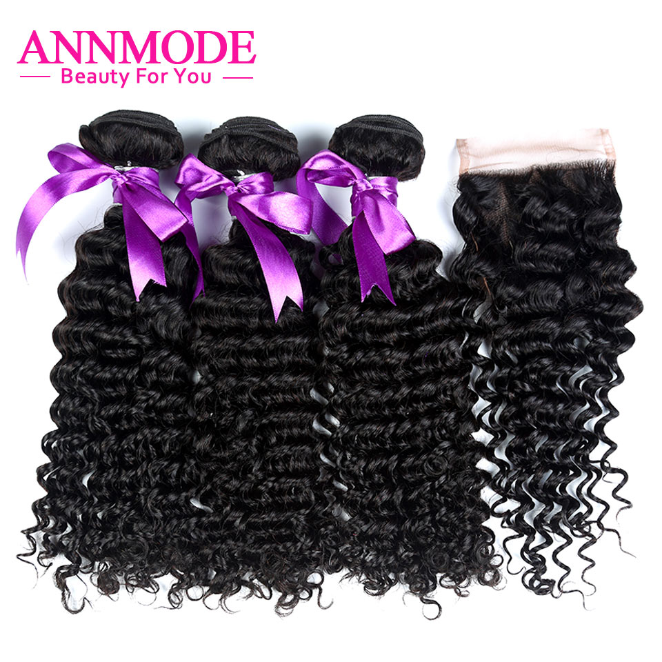 Annmode Indian Deep Wave Bundles With Closure 3 Bundles With Closure Non Remy Hair Extensions Human Hair bundles With Closure