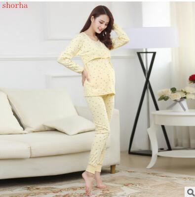 Autumn and winter cotton nursing pajamas Breast feeding clothes autumn and winter Nursing Tops Long Sleeve for Pregnant pajamas