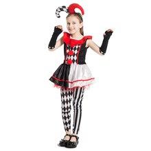 d2c2f1bb0 Chegada nova Meninas Mel Arlequim Bobo Da Corte Palhaço Roupas Cosplay  Criança Traje Festa de Halloween Carnaval Fancy-Vestido