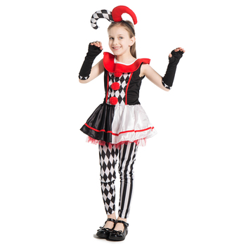 New Arrival Girls Harlequin Honey Jester Clown Cosplay Clothing Costume Child Halloween Party Carnival Fancy-Dress