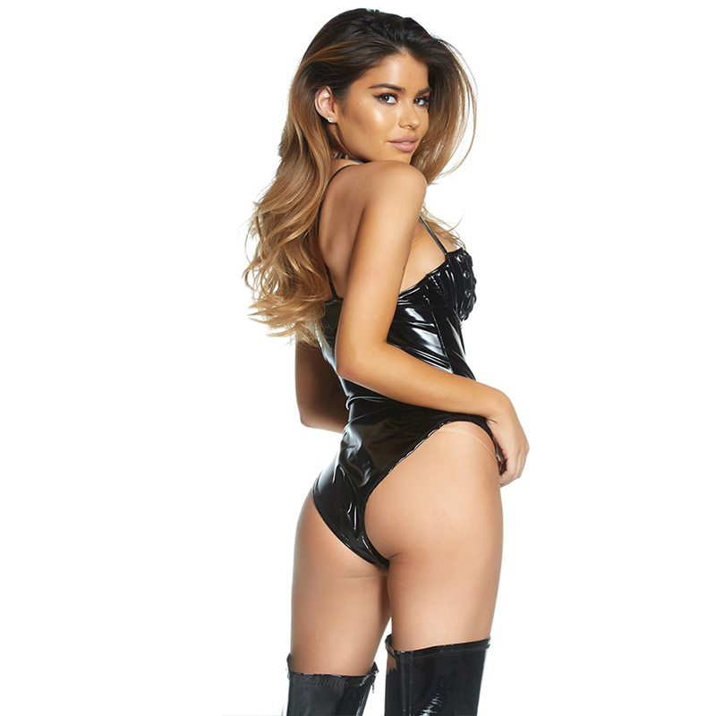Latex Sexy Women Lingerie Teddy Black Open Bust Lace Up Bandage Leather Sexy Hot Erotic Body Leopardo Ladies Pole Dance Catsuit (3)