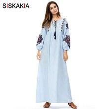Siskakia Elegant ethnic Embroidery women long dress Fashion
