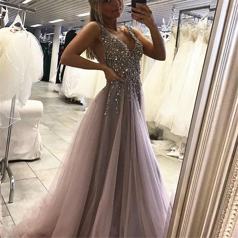 0b8eeb32e382 New Arrival V-neck Sliver Crystals Beaded Tulle Evening Dress 2019 Backless  High Split Sexy