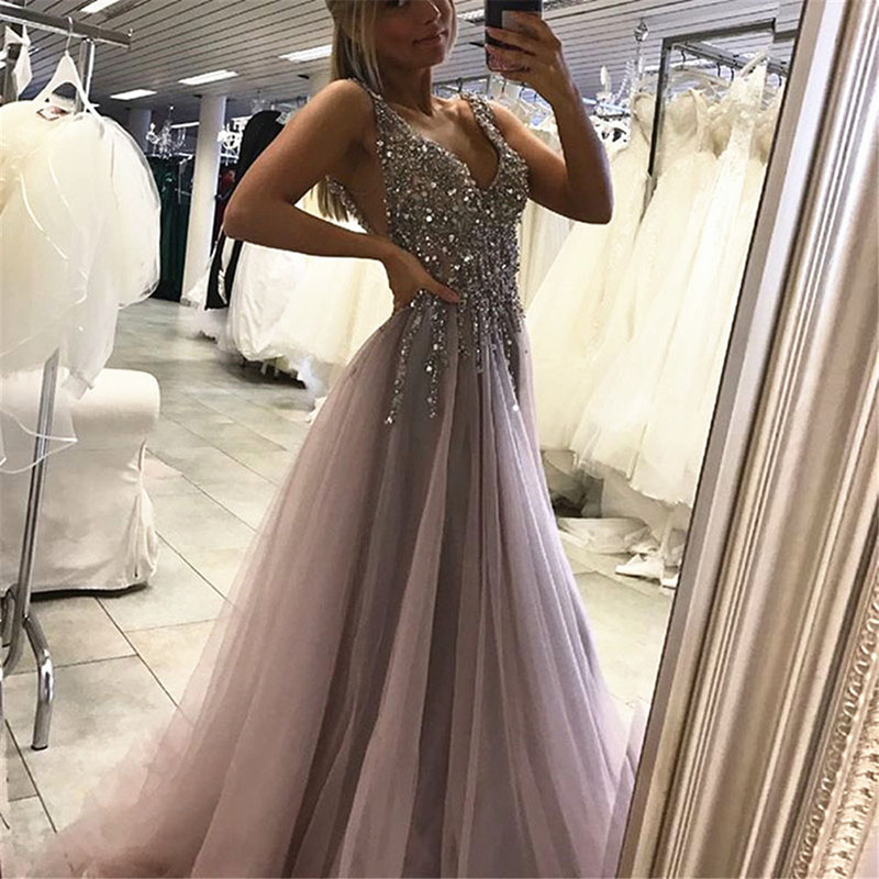 New Arrival V-neck Sliver Crystals Beaded Tulle Evening   Dress   2019 Backless High Split Sexy   Prom     Dress   Long Party   Dresses