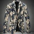 Impressão Flor Blazer Para Os Homens 2015 Novo Plus Size M-6xL Homens Blazer Casaco Outwear Floral Print Blazer Dos Homens Terno Ocasional jaqueta