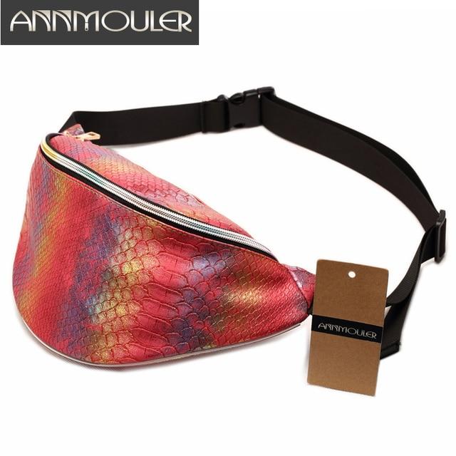 Annmouler New Pack Women Handbag Laser Zipper Purse Snake Pattern Waist Bag Las Belt