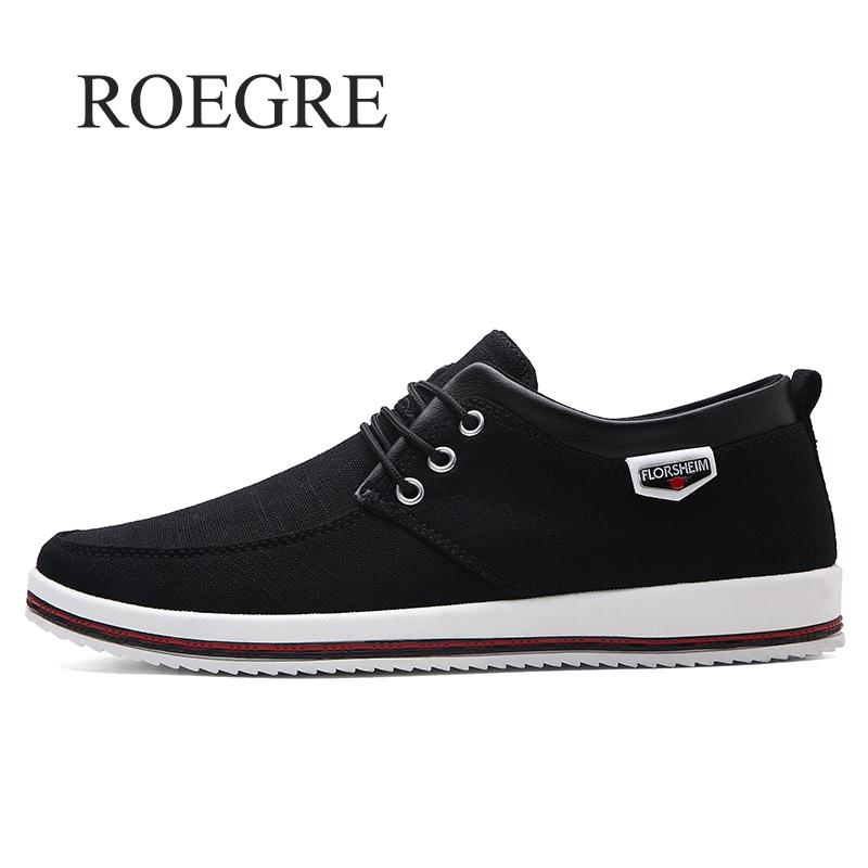 ROEGRE Brand Spring Summer Men Casual Shoes Fashion Mens Flats Soft Breathable Lace Up Sneakers Zapatillas Plus Size 39-47