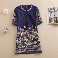 2016 New Women Summer Casual Embroidery Short Sleeve Floral Blouses Shirts Long Feminino Blusas Tops Vintage