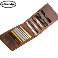 Andralyn Retro Geniune Leather Men Card Holders Business Credit Card Women Wallet Women Housekeeper Clutch Purse