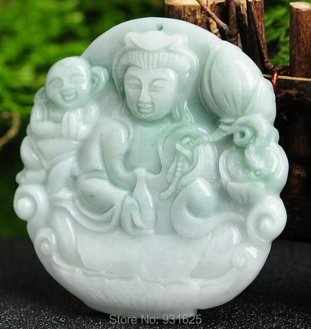 Grade A Natural Green Jadeite Carved Kwan-Yin & Baby Lucky Amulet Pendant + Rope Necklace + certificate Fine Jade Jewelry