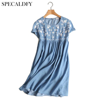 Ethnic Embroidery Denim Dress Women Short Sleeve O Neck Casual Shirt Dresses Summer 2018 Plus Size Vestido Jeans Dress Feminino