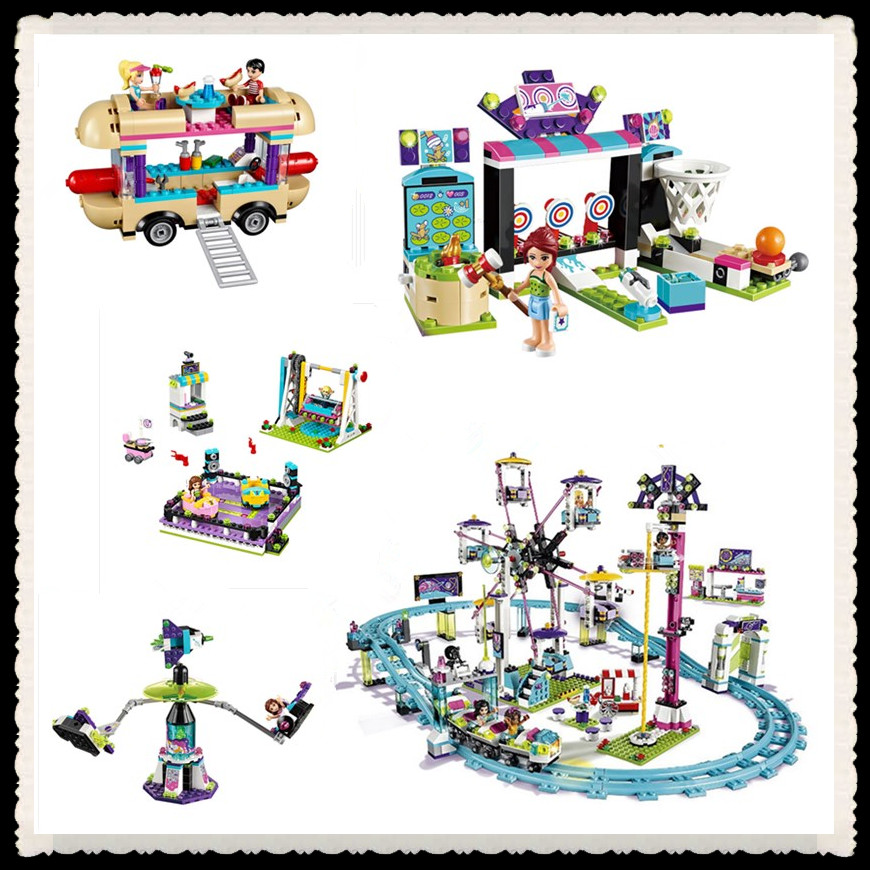 font b LEPIN b font 01008 01007 01006 01009 Friends Amusement Park Roller Coaster Building