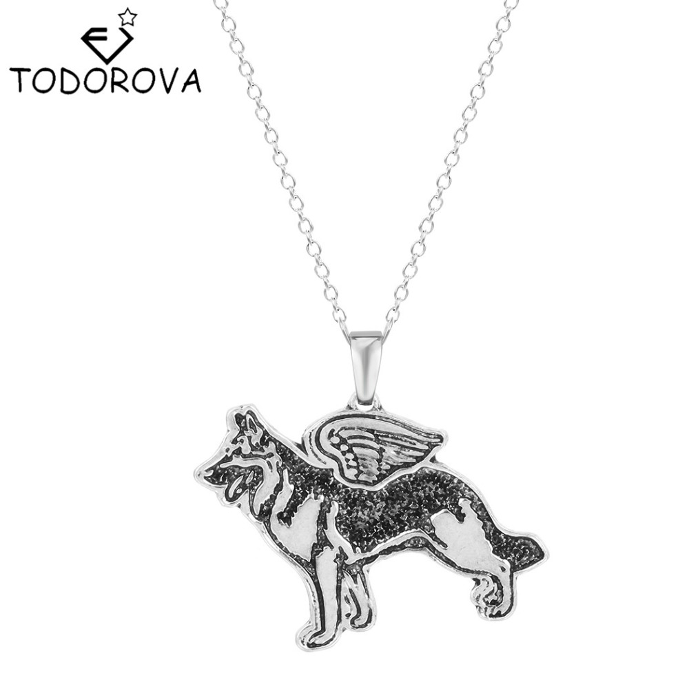 Тодорова Пособия по немецкому языку Shepherd Ангел щенок животного Ожерелья для мужчин кулон с цепочкой старинное серебро подарок для Для женщ... ...