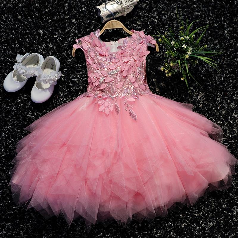 5e4ba1d559 Kids Pageant Dress Wedding Applique Flower Girl Dresses Beading Girls  Formal Dress Ball Gown Birthday Prom