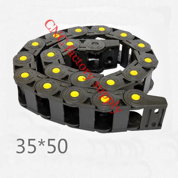 Free Shipping  Yellow spot 1M 35*50 mm  Plastic Cable Drag Chain For CNC Machine,Inner diameter opening cover,PA66 best price 25 x 57 mm l1000mm cable drag chain wire carrier with end connectors for cnc router machine tools