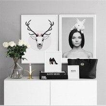 HAOCHU Canvas Print Decorative Painting Nordic Modern Woman Personality Figure Deer Head Creative Home Mural Wall Art Poster