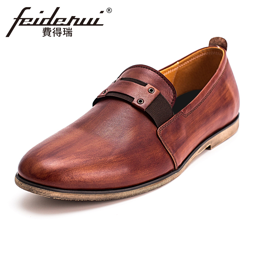 Fashion Genuine Leather Mens Loafers British Designer Round Toe Slip on Handmade Man Flats Comfortable Casual Shoes KUD105 new summer breathable men genuine leather casual shoes slip on fashion handmade shoes man soft comfortable flats lb b0009