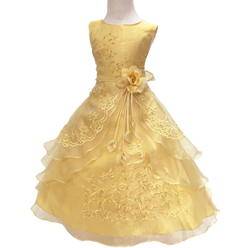 Nicoevaropa Girls Graduation Gown Embroidered Formal Bridesmaid Wedding Children Christmas Princess Party Dress Kids Clothing