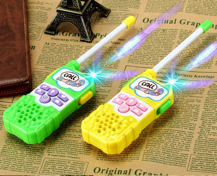 A Pair Walkie Talkie Kids Radio 0.5w Amateur Two-way Talkly Led Light Children Transceiver Intercom Gift Interactive Plastic