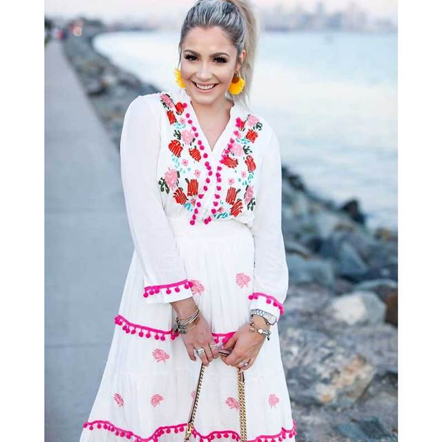 00a0c75f7634 Boho Inspired Floral Embroidered hippie white summer dresses white long sleeve  dress women pompom trim maxi dress vestidos 2018