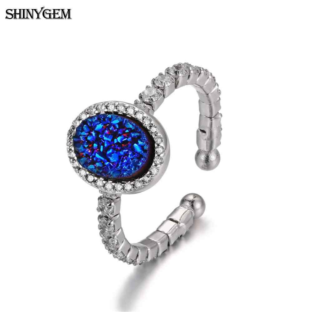 ShinyGem ปรับ 925 แหวนเงินแท้รูปไข่หินธรรมชาติแหวนประกาย Opal Druzy แหวนสำหรับผู้หญิง