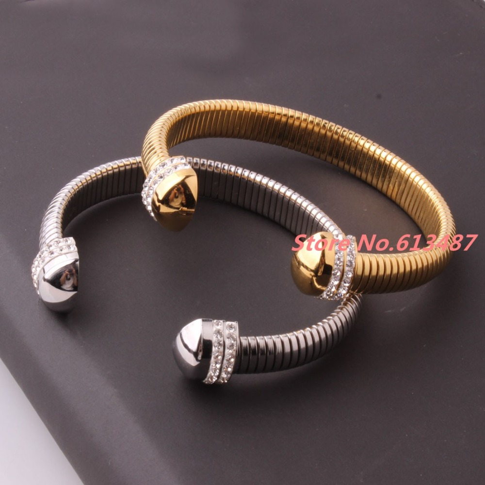 Charming Gift Novelty Silver&Gold Tone Stainless Steel Womens Cuff Bangle With top Crystal CZ Jewelry Bracelet Christmas Gift